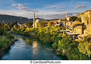 Mostar, Bosnia and Herzegovina - Old town of Mostar, Bosnia...