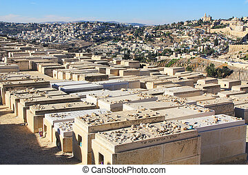 Panoramic View of Jerusalem and a Cemetery - Dormition Abby...