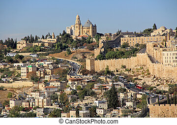 Dormition Abby and the Wall of Old Jerusalem - Dormition...