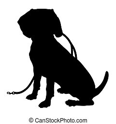 Beagle Silhouette Leash - A black silhouette of a sitting...
