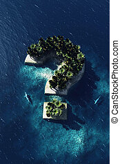 Question mark - shaped island, aerial view with two sharks....