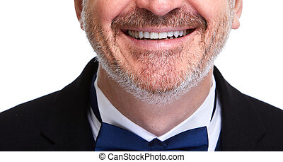 Man smile - Happy smiling man close-up isolated on white...