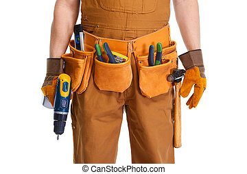 Builder hands - builder hands with tool belt and drill white...