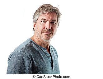 Man portrait - Serious casual man portrait isolated on white...