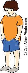 boy - A sad boy in orange t-shirt and blue shorts.