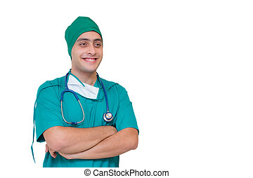 Portrait of a male surgeon - Isolated on white background - Smiling young doctor