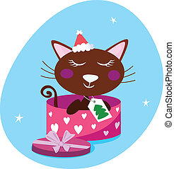 Brown Christmas Cat In Pink Box