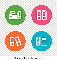 Accounting icons. Document storage in folders. - Accounting...