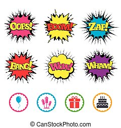 Birthday party icons. Cake and gift box symbol. - Comic Wow,...