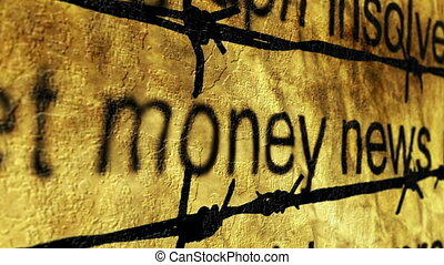 Money news and barbwire concept
