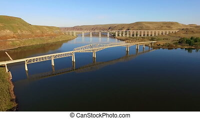The Palouse and Snake Rivers Converge Lyons Ferry Washington...