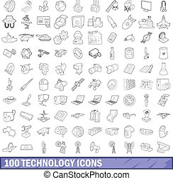 100 technology icons set, outline style