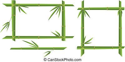 bamboo frames - vector illustration bamboo tree frames