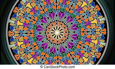Rotating and zooming multicolored mosaic circle shape, video background composed of colorful fragments