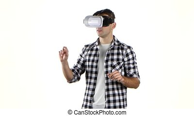 In virtual reality glasses man viewing information, flips...