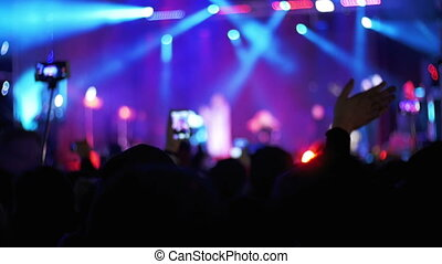 Concert Crowd at Music Festival in Slow Motion. Crowd people...