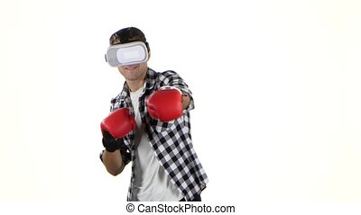 Boxing with glasses of virtual reality by men. White background