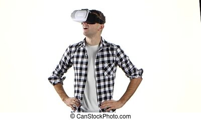 Man carefully considers what he sees in virtual reality...