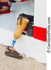 aluminium prostheses on the ground