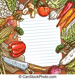Vegetables and blank paper on wooden background