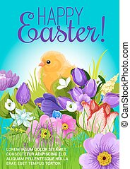Easter greeting vector poster of chick and flowers - Happy...