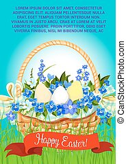 Happy Easter eggs basket vector greeting poster - Easter...