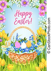 Happy Easter vector greeting card basket flowers - Happy...