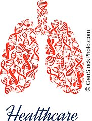 Lungs organ healthcare dna vector symbol