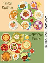 British, thai and finnish cuisine icon set design - British,...