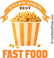 Popcorn fast food snack vector isolated icon - Popcorn...