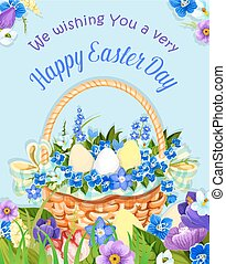 Easter eggs basket vector paschal poster design - Happy...