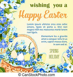 Easter egg poster paschal greeting vector template - Happy...