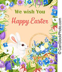 Happy Easter wishes greeting card vector bunny egg