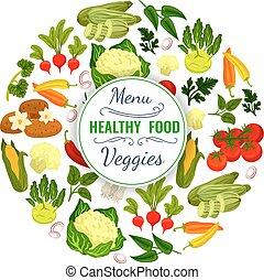 Vegetables or veggies food vector poster - Veggies poster of...