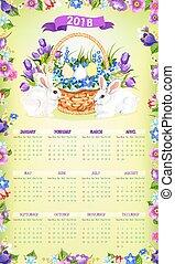 Easter paschal vector calendar 2018 template desgn - 2018...
