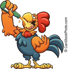 Drunk rooster - Drunk cartoon rooster drinking a beer....