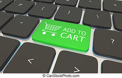 Add to Cart Online Shopping Computer Keyboard 3d Illustration