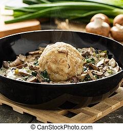 Bread dumpling with mushrooms - Homemade bavarian bread...