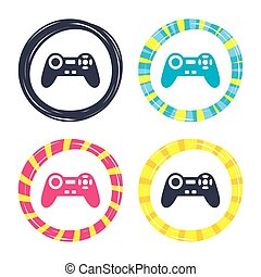 Joystick sign icon. Video game symbol. Colored buttons with...