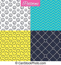 Hearts, smile and circles grid textures.