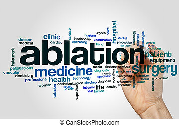 Ablation word cloud concept on grey background.