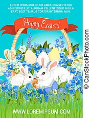 Easter paschal hunt eggs and bunnies vector poster - Easter...