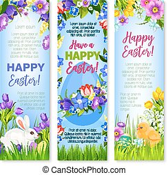 Happy Easter eggs, bunnies vector greeting banners