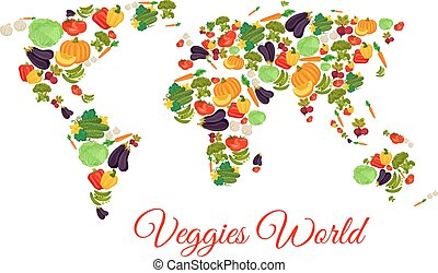 Veggies and vegetables world map vector - Vegetables world...