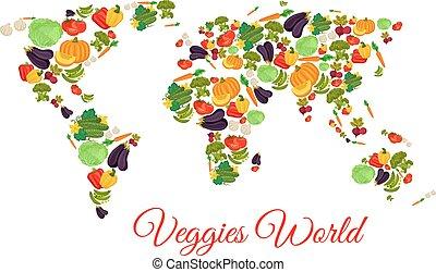 Veggies and vegetables world map vector - Vegetables world...