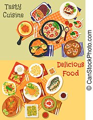 Italian, spanish and japanese cuisine dishes icon - World...