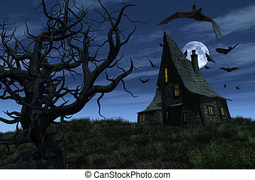 Witch's House - A witch's house sits on a hill, surrounded...