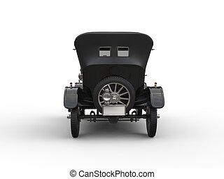 Black vintage car restored - back view