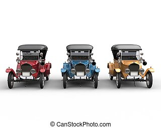 Red, blue and yellow restored vintage cars