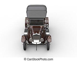 Brown vintage car - restored - top down view